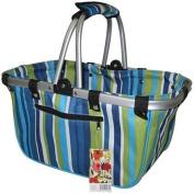 JanetBasket Blue Stripes Large Aluminium Frame Bag