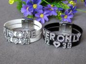 Couple Bracelet Bling Her Only His One Bracelet Date and Heart Bracelet Lover Bracelet Leather Bracelet Anniversary Gift