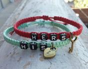 Couple Bracelet His and Hers Bracelets,lock and Key Bracelets,hand Weaving Bracelet Wedding Gift, Red and Mint Hand Weaving Bracelet, Boyfriend Girlfriend Jewellery, Anniversary Gift