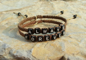 Couple Bracelet Always Forever in Love Bracelet Boyfriend and Girlfriend Jewellery Brown Hand Weaving Bracelet Anniversary Gift with Gift Box