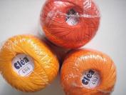 Free Ship 3 Orange Tangerine Shades Size 10 Crochet Cotton Thread Yarn Knitting