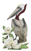 Louisiana State Bird and Flower Brown Pelican and Magnolia Counted Cross Stitch Pattern