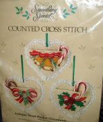 """Something Special """"Antique Heart Pocket"""" Ornaments Set of Three Kit Counted Cross Stitch"""