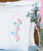 Jack Dempsey Needle Art 1800517 Lace Edge Pillowcase, Love Birds with Lace Edge Finish, 50cm by 80cm , White