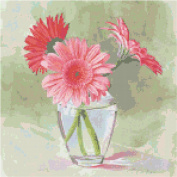 Coral Gerbera Daisies Flowers Counted Cross Stitch Pattern