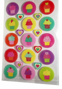 Valentine Glittered Cupcakes Decorative Stickers-1 sheet