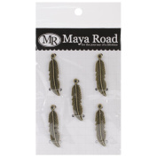 Maya Road VF2472 Metal Antique Mini Quill Feathers Scrapbooking Charm Embellishments