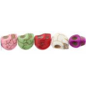Beads - Multicolor Magnesite : Skull-Carved - 12mm Height, 9mm Width, 12mm Thickness , No Grade - Sold by