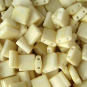 Cream Matte Tila Beads 7.2 Gramme Tube By Miyuki Are a 2 Hole Flat Square Seed Bead 5x5mm 1.9mm Thick with .8mm Holes