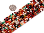 """4mm Round Faceted Mixed Colour Agate Beads Strand 15"""" Jewellery Making Beads"""