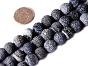 "10mm Round Frost Black Agate Beads Strand 15"" Jewellery Making Beads"