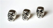 20 Metal Silver Skull Beads For 550 Paracord Bracelets, Lanyards, & Other Projects