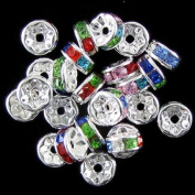 25 8mm silver plated rhinestone rondelle beads multicolor