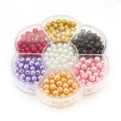 Jewellery Making Colour Glass Pearl Pearlescent Beads Box Set , 6mm Round, 350 Pcs