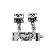 "Antique Silver ""Mother Daughter Puzzle Set"" Dangles Compatible with European and Italian Jewellery"