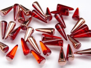 10 pcs Czech Glass Spike Beads 7x17 mm Hyacinth Capri Gold