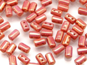 Czech Glass Two-Hole Seed Beads RULLA 3x5mm 20gram CHALK RED lustre