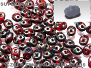 Czech Two-Hole Seed Beads SuperDuo Ruby with Dark Travertin Lustre 20gram