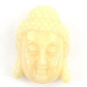 28mm synthetic coral carved buddha pendant bead cream guanyin