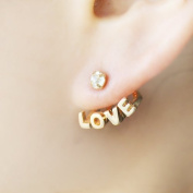 Christmas Gift Distinctive Gold Colour Alloy Rhinestone Love Letters and Heart Stud Earrings for Women