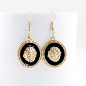 New Arrival Hot Selling Charming Gold Colour Alloy Antique Style Black Colour Enamel Round Lion Head Dangle Earring for Women