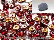 Czech Two-Hole Seed Beads SuperDuo Ruby Capri Gold AB 20gram