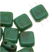 Czech Glass 2-Hole Square Beads 6mm 'Persian Turquoise Picasso'