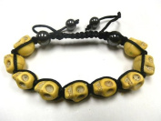 New Handmade Adjustable Shamballa Skull Hematite Gemstone Bracelet Yellow Beads