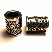 Moxx Chrome Metal Cylinder Beads for Paracord Bracelet (Tibetan Ome Symbol) 5 Pcs