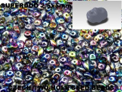 Czech Two-Hole Seed Beads SuperDuo Magic Blue-Pink 20gram