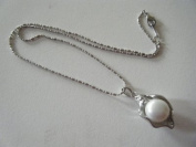 Necklace, Pearl with Brass Chain - 41cm