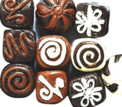 Peruvian 10mm Peruvian Hand Crafted Ceramic Chocolate Truffles Beads , Assorted, 10 per Pack