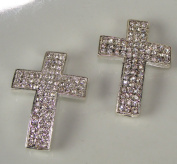 Rhinestone Triple Wide Cross Pave Silver W/crystal 2 Each 3.8cm