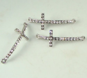 Rhinestone Slim Cross Silver with Crystal 3 Each 4.4cm Curved Bracelet Bar