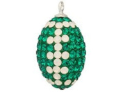 Crystal Green and White Football Charm Pendant