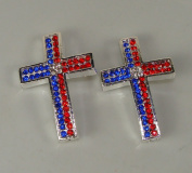 Sideways Cross Rhinestone Silver Red Blue Crystal 2pc 26mmx40mm