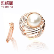 Scarf Ring-Lady Pin Brooch Clip On Style. Crystal Metallic w/Rhinestone .  Crystal,Gorgeous Lady Clip On Ornament,3.2cm W x 3.2cm ,The Most Elegant Clip On Pin w/100% Satisfaction Guaranteed !