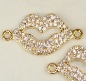 Rhinestone Lips Bracelet Bar Pave Gold W/crystal 2 Pcs 38x20mm