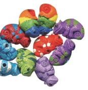 Peruvian 10 by 15mm Peruvian Hand Crafted Ceramic Chameleon Beads , Assorted, 10 per Pack