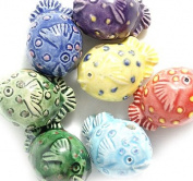 Peruvian 10 by 16mm Peruvian Hand Crafted Ceramic Blowfish Mix Beads , Assorted, 10 per Pack
