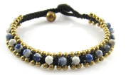 MGD, Blue Lapiz Lazuli With Golden Beads and Brass Bell Bracelet. Beautiful Handmade Gemstone Wrap Bracelet Made From Wax Cord. Fashion Jewellery for Women, Teens and Girls., JB-0092