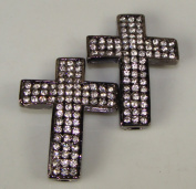 Rhinestone Triple Wide Cross Gunmetal W/crystal 2 Each 3.8cm