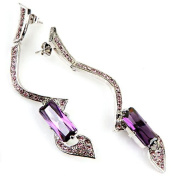 High Quality Fashion Jewellery Earrings [ECEA-05] Rhodium Plated Brass / Cubic Zirconia - Made in KOREA