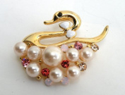 Gold Pin Brooch,Ornament-Gorgeous Swan Design Gold Metallic w/Rhinestone,Imitation Pearl Elegant Design 4.4cm W x 3.3cm H Super Saving w/100% Satisfaction Guaranteed !
