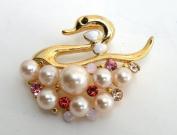 Gold Pin Brooch,Ornament-Gorgeous Swan Design Gold Metallic w/Rhinestone,Imitation Pearl Elegant Design 4.4cm W x 3.3cm H Super Saving w/ .  d !
