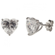 New 925 Sterling Silver Cz Heart Cut Stud Earrings with Gift Box
