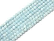 Round Blue Aquamarine Beads Strand 38cm Jewellery Making Beads