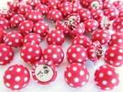 50pcs Fabric Polka Dot Sewing Button with Shank