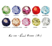 Lot 100 pcs. ROUND #5000 Crystal Beads 4mm. 10 colours