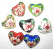 50 14x16mm Handmade Heart Mix Cloisonne Beads By BriannaBeads